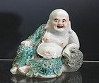 Chinese Glazed Porcelain Sitting Happy Laughing Buddha Budai MK