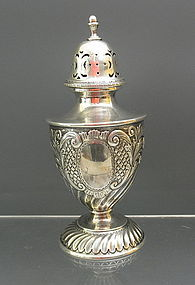 Victorian Sterling Silver English Sugar Caster Shaker Embossed
