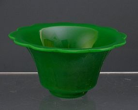Old Chinese Jadeite Jade Green Peking Glass Bowl, 19th C