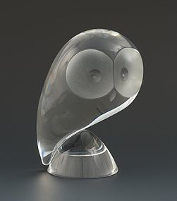 American Mid-Century Modern Stuben Art Glass Perched Crystal Owl