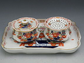 Meissen Porcelain Imari Desk Set w/ Inkwell, Sander, and Tray