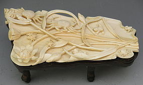 19th C Chinese Scholar's Ivory Wrist Rest with Frogs, Crabs, Lotus