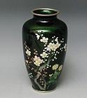 Vintage Japanese Emerald  Green Ginbari Silver Cloisonne Vase
