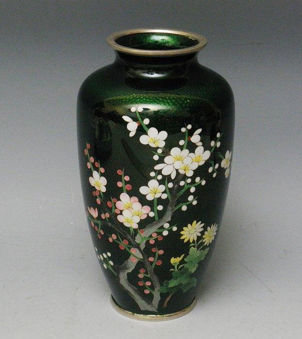 Vintage Japanese Emerald Green Ginbari Silver Cloisonne Vase Item