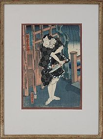 Japanese Woodblock Samurai Print by Toyokuni Utagawa, Circa 1800