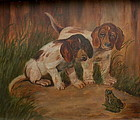 Antique American Folk Art Oil Painting of Puppies Frog, Signed Graham