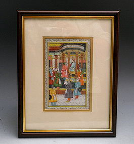 Miniature Framed Persian Mughal Court Scene Painting on Marble