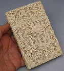 Antique Chinese Carved Ivory Card Case Pierced Background, 19th C