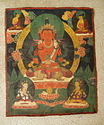 Antique Tibetan Buddhist Thangka with Tara and 4 Deity Figures