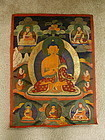 19th C Antique Tibetan Buddha Thangka with 9 Deity Figures