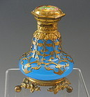 French Blue Opaline Glass Perfume Bottle with Gold Gilded Ormolu