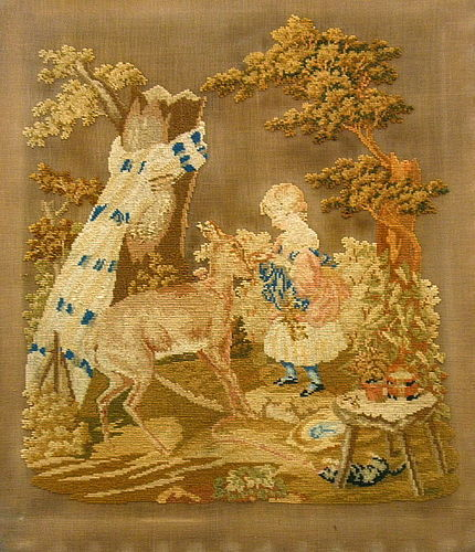 Antique Needlepoint Silk Embroidery Memorial Girl Deer Cat