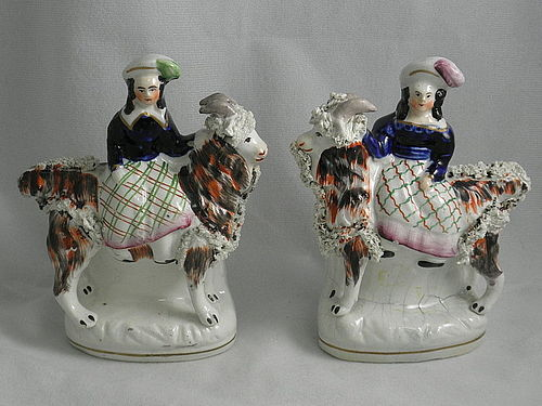 Pair of Antique Staffordshire Girl Riding Goat Figurine, Circa 1830