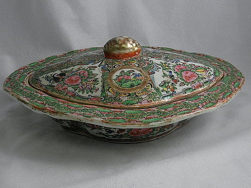 Chinese Famille Rose Medallion Covered Serving Dish with Lid, 19th C
