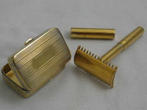 RARE Vintage Sterling Silver Gold Double Edge Razor in Compact Box