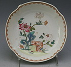 Small Chinese Kangxi Porcelain Plate Dish with Garden Scene