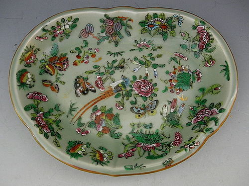 Chinese Porcelain Export Celadon Kidney Shaped Dish, Circa 1890
