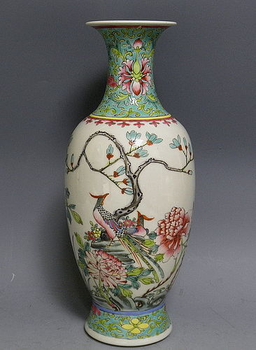 Chinese Famille Rose Porcelain Vase with Birds and Peony