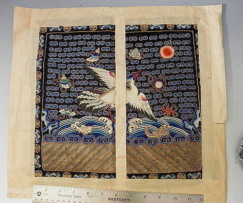 Chinese Silver Pheasant Civil Silk Rank Badge Original Paper Wrapper