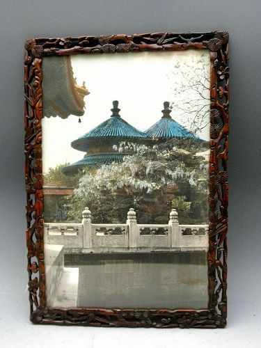 Double Ring Longevity Pavilion Hand Tinted Photo Carved Wood Frame