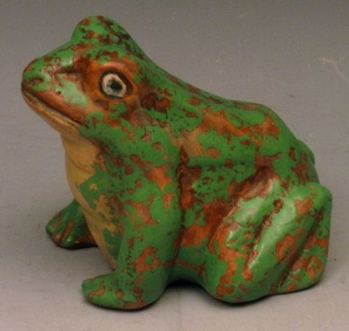Rare Large Weller Frog Pottery Figurine Coppertone and Green
