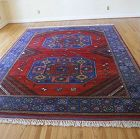 Turkish Dobag Winter Wool Hand Woven Rug Natural Dyes Red Ground
