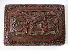 Antique Chinese Deep Red Lacquer Cinnabar Box with Lid, Signed