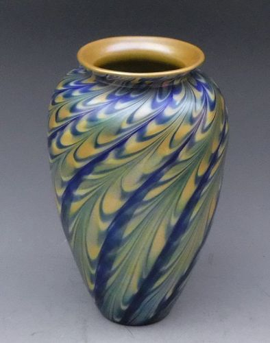 Steven Lundberg Gold Aurene and Blue Pulled Feather Art Glass Vase