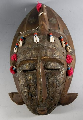 Old African Mali Tribal Mask Ivory Coast Wood, Brass, Shell
