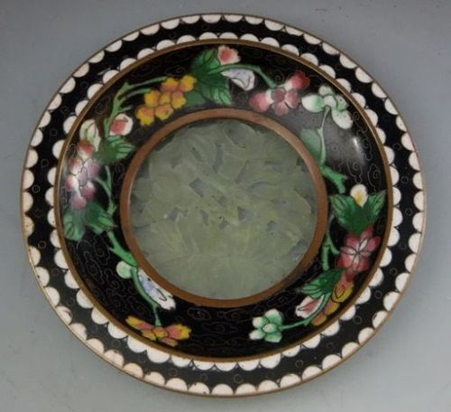 Late 19th C Cloisonne and Jade Stone Dish, Marked