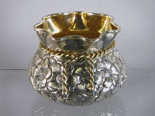 Small 900 Coin Silver Embossed Floral Basket with Gold Tie