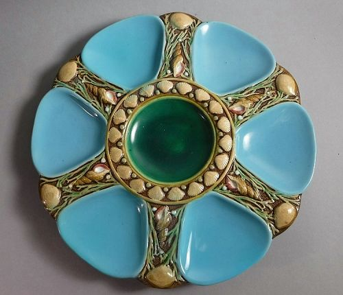 Antique Minton Majolica Shell Sea Life Oyster Plate