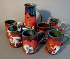 Japanese Sumida Gawa Tankard and 6 Mugs, Artist Signed