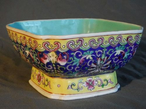 Chinese Qing Dy Porcelain Blue Footed Bowl with Mark