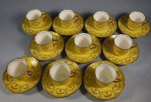 Royal Doulton Yellow and Gold Demitasse Bone China Cup and Saucers