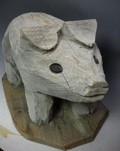 Large American Old Folk Art Hand Carved Wood Pig Statue