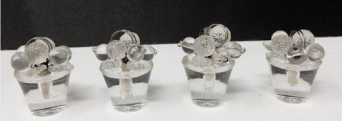 Vintage Czech Crystal Fruit Flower Pot Place Card Holders