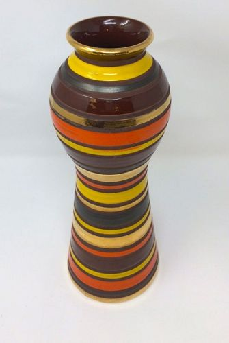Bitossi Striped Mid Century Modern Vase, orange, yellow, brown, MCM