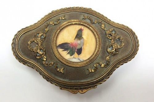 Antique Bronze French Dresser Jewelry Trinket Box with Rooster