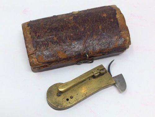 Antique Phlebotomy Fleam Bloodletter Medical Tool with Case