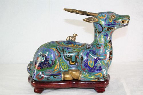 Old Chinese Cloisonne Recumbent Deer Censer on Stand