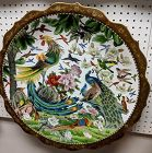 Monumental Huge Cloisonne Charger, Birds, Phoenix, Peacock