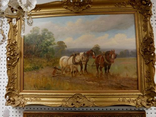 Antique Oil on Canvas Farm Landscape w Horses, Signed G. Melville