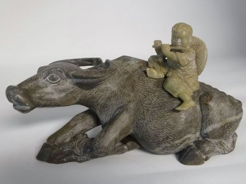Chinese Stone Carving of Boy Playing Flute on Buffalo Sculpture