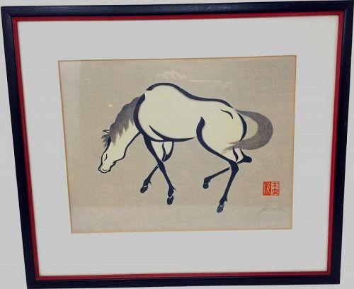 Japanese Horse Facing Left Woodblock Print by Yoshijiro