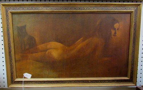 Oil on Board Painting of Reclining Nude Woman with Black Cat