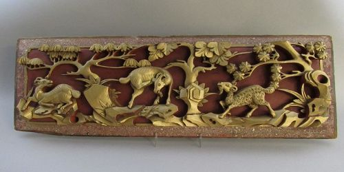 Long Old Chinese Carved Wood Panel with 3 Goats Sheep