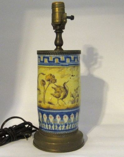 Mid Century Yellow Tile Table Lamp with Dog, Bull, Deer, Bird