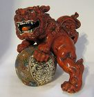 Large Japanese Red Kutani Lion Fu Dog Shishi on Ball Statue