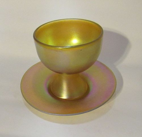 Quezal, Gold Aurene Art Glass Footed Sherbert Cup with Underplate